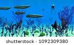 cambrian seas 3d illustration   ... | Shutterstock . vector #1092309380