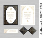 luxury wedding invitation or... | Shutterstock .eps vector #1092314993