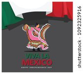 female mexico dance with flag...   Shutterstock .eps vector #1092325916