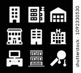 filled set of 9 buildings icons ... | Shutterstock .eps vector #1092330530