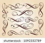 calligraphic elegant elements... | Shutterstock .eps vector #1092332789