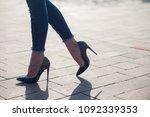 woman black high heels. close...   Shutterstock . vector #1092339353