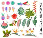 set of vector images of leaves  ... | Shutterstock .eps vector #1092341216