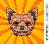 yorkshire terrier dog portrait. ... | Shutterstock .eps vector #1092349490