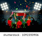 group of supporter hold... | Shutterstock .eps vector #1092350906