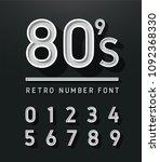 80's number vintage sans serif... | Shutterstock .eps vector #1092368330