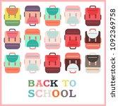 back to school backpack... | Shutterstock .eps vector #1092369758