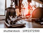 closeup leg of cardio workout... | Shutterstock . vector #1092372500