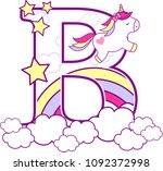 initial b with cute unicorn and ... | Shutterstock .eps vector #1092372998
