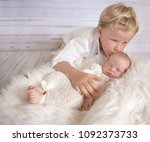 portrait of young brother with... | Shutterstock . vector #1092373733