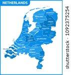 the detailed map of netherlands ...   Shutterstock .eps vector #1092375254