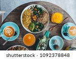 vegetarian salad bowl with... | Shutterstock . vector #1092378848