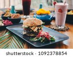 halloumi cheese vegetarian... | Shutterstock . vector #1092378854