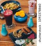 mezze platter with falafels ... | Shutterstock . vector #1092378860