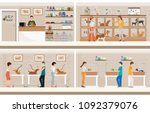 modern pet shop with cages of... | Shutterstock .eps vector #1092379076