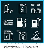 set of 9 gasoline outline icons ... | Shutterstock .eps vector #1092380753