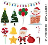 a set of christmas element... | Shutterstock .eps vector #1092383864