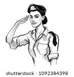 pretty woman soldier. ink black ... | Shutterstock . vector #1092384398