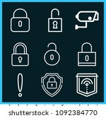 set of 9 secure outline icons... | Shutterstock .eps vector #1092384770