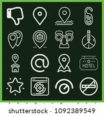 set of 16 signs outline icons...   Shutterstock .eps vector #1092389549