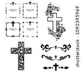 cross icons set. obituary... | Shutterstock . vector #1092395969