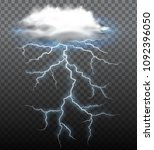 a thunderstorm on trasparent... | Shutterstock .eps vector #1092396050