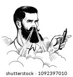 hipster with vaporizer. ink... | Shutterstock . vector #1092397010