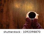 female wear red sweater hand... | Shutterstock . vector #1092398870