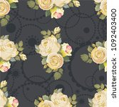 seamless floral pattern with... | Shutterstock .eps vector #1092403400