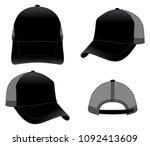 blank black trucker mesh cap... | Shutterstock .eps vector #1092413609