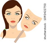 face of a girl and mask with... | Shutterstock .eps vector #1092422753