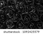 black paper roses background on ... | Shutterstock . vector #1092425579