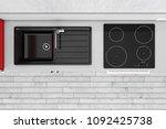 modern kitchen with granite... | Shutterstock . vector #1092425738
