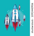 rocket space design | Shutterstock .eps vector #1092440906