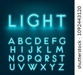 neon light alphabet font.... | Shutterstock . vector #1092443120