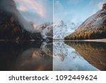 calm alpine lake braies.... | Shutterstock . vector #1092449624