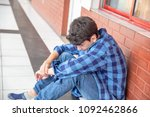 bullied boy at school.   Shutterstock . vector #1092462866