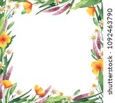 square frame with wildflowers.... | Shutterstock . vector #1092463790