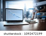 project manager working and... | Shutterstock . vector #1092472199