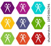 scissors icons 9 set coloful... | Shutterstock .eps vector #1092486296