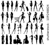 vector illustration of collection of silhouette of woman