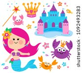 pretty mermaid princess  fish... | Shutterstock . vector #1092493283