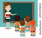 woman teacher with students in... | Shutterstock .eps vector #1092495833
