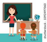 woman teacher with students in... | Shutterstock .eps vector #1092497060