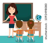 woman teacher with students in... | Shutterstock .eps vector #1092498080