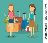 women travelers with suitcases... | Shutterstock .eps vector #1092503996