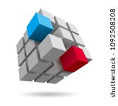 cube assembled of blocks puzzle ... | Shutterstock .eps vector #1092508208