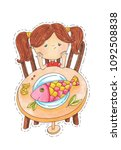 hand painted little girl with...   Shutterstock . vector #1092508838