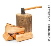 Cut Logs Fire Wood And Old Axe...