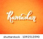 ramadan kareem typography with... | Shutterstock .eps vector #1092513590